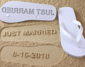 Wedding Date Flip Flops Custom Sand Imprint *check size chart, see 3rd product photo*