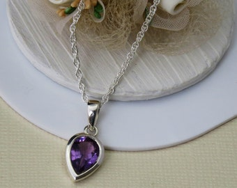 Amethyst Sterling Silver Necklace, Amethyst Teardrop Necklace, Amethyst Jewelry, Gift for Her