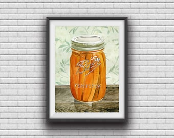 Canned Carrots Watercolor Painting Signed Giclee Print