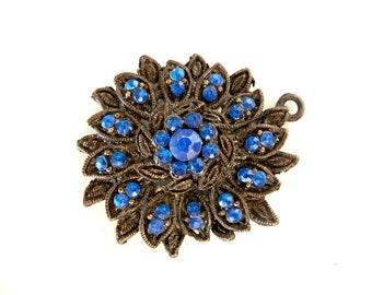 Copper Pendant, Copper Blue, Pendant, Blue Pendant, Star Pendant, Vintage Pendant, Rhinestone Pendant, Flower Pendant, Big Flower, Big