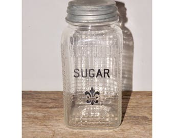 "Hazel Atlas H over A square jar,quilted glass jar,quart,sugar jar,grid pattern canister,clear,zinc lid,square canning jar,storage,7"" high,"