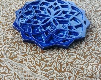 Seed of life merkaba ceramic flower, lapis lazuli blue glaze effect