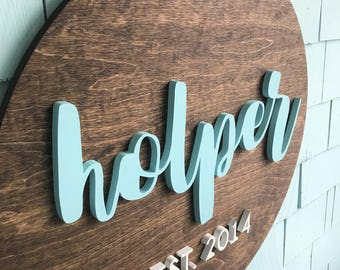 "Family Name Sign, Wood Round, 24"", Last Name with Established Date, Wedding Gift, Couples Gift, 3D Wood Sign, Home Decor, Newlywed"