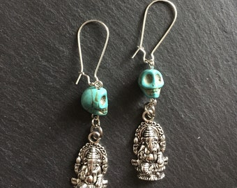 Ganesh earrings with turquoise skull beads. Boho. Gypsy. Tribal.