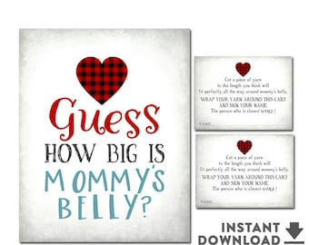 Guess How Big is Mommy's Belly Game Sweetheart Valentine Baby Shower Heart Baby Shower Games Boy Printable  (INSTANT DOWNLOAD) No.1071BABY