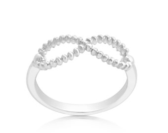 Beaded Infinity Symbol Spiritual Stackable Ring #925 Sterling Silver #Azaggi R0566S