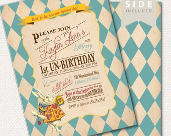 Alice in Wonderland  Invitation / Birthday / Mad Hatter Tea Party - Printable Birthday Party Invitation - Pink