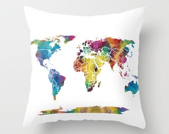 Map Pillow - Geometric map, colorful map,  unique, modern, geometric on white