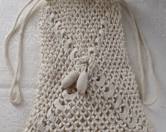 Vintage Purse Hand Crochet Reticule Flower Design Drawstring Closure
