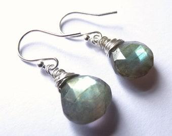 Labradorite Briolette Earrings wrapped with 925 Sterling Silver, Gemstone Earrings, Teardrop Earrings, Drops, Gift for Her, Gifts for Women