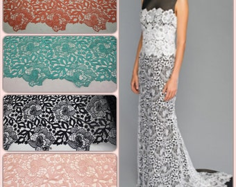 Fancy Guipure lace fabric, chemical lace textile,embroidery lace fabric,10 color