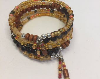 Bracelet Memory Wire Wrap 5 Coils Amber Shades Beads
