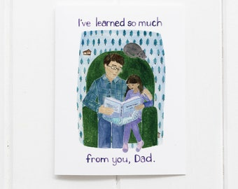 Dad Card | Fathers Day Card | Fathers Day | Greeting Card | Reading Card | Gifts for Him | Fathers Day Gifts | Dads | Dad and Daughter Card