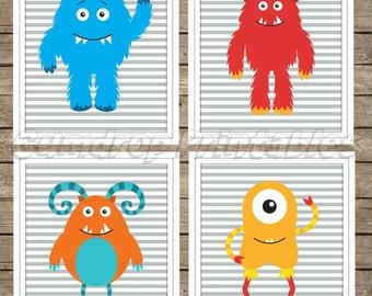 INSTANT Download Set of 4 Monsters Wall Art Digital Prints ~ Boy Room Decor ~ Nursery Decor ~  ~ Digital Download Picture ~ DIY