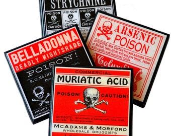 Halloween Decor Poison Label Coaster Set Wood Drink Coasters Halloween Party Favor Medicine Labels Set of Four Halloween Hostess Gift