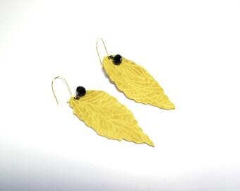 Leaves earrings -Yellow  Leather  leaves Earrings