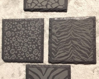 Animal Print Slate coaster.  Set of 4