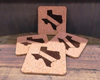 TEXAS State Dive Flag Cork Coaster 4-pack