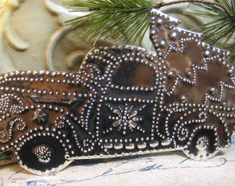 Pierced Tin Pickup Truck Bringing Home the Christmas Tree  Shiny Silver Artist Tinsmithed HANDMADE Original, COPYRIGHT, ART, with hook <3