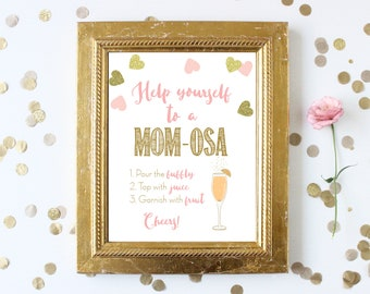 Momosa Bar Sign . Baby Shower Help Yourself to a Mom-osa . Mimosas . Printable Instant Digital Download . Pink and Gold . Baby Shower Girl