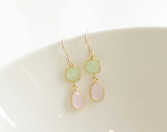 Mint dangle earrings, pink dangle earrings, pink drop earrings, mint drop earrings
