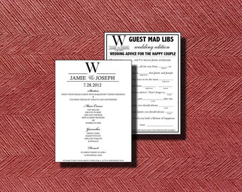 Double Sided Wedding Menu with Mad Lib