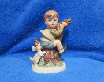Vintage boy with dog porcelain figurine - Georgia Wills