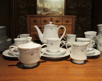 Baum Bros Newport Tea Luncheon Set Vintage 1980's #1417 White Lavender Blue Coffee 38 pcs Dining Serving Entertaining Collectible
