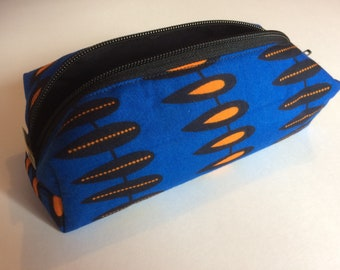 Pen pocket in African print fabric/makeup bag/ritstas/back to school/blue