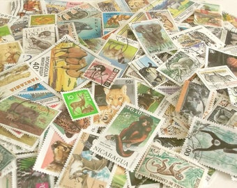 20 x animal postage stamps | world wildlife used postal stamps - modern vintage random mixed - craft, collage, upcycle, decoupage, collect