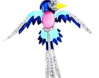 Art Deco Blue Bird Brooch Rhinestone Enamel Glass