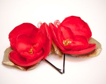 Set of two, large vintage - inspired classic red bobby pin hair accessories