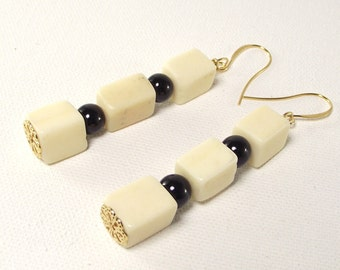 Earrings - Black and White Triple Block Earring Set