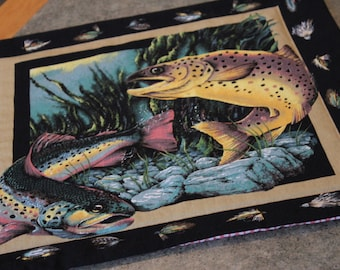 Black Lures Fish Trout 17 X 16 Table Runner Topper