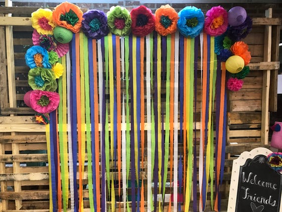 Mexican tissue paper flowers photo wall wedding fiesta mightylinksfo