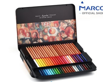 Colored pencils by Marco - Renoir Series | Premium color pencils, Soft core, Vibrant colors, 48 finest color pencils