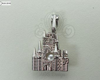 Cinderella Castle Pick A Pearl Cage Necklace 925 Sterling Silver Cage Silver Necklace Princess Queen Kingdom Cinderella Charm Pendant