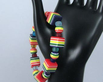 Multicolored Striped Beaded Stretchy Bracelet, Rainbow Colored Bracelet, Cubic Stretchy Bracelet, Rainbow Beaded Stretchy Bracelet