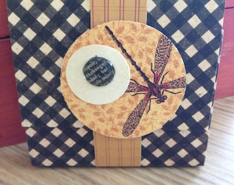 Black Plaid and Dragonfly Sticky Note Pad with Cover, Band Closure