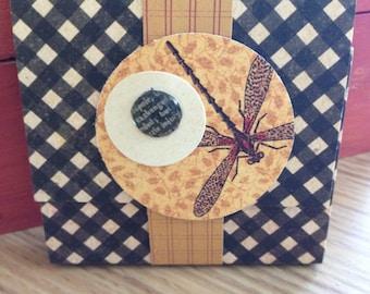 Noir à carreaux et libellule collant bloc-notes avec couverture, fermeture bande