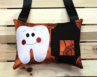 Personalized Tooth Fairy Pillow- Basketball -H0404