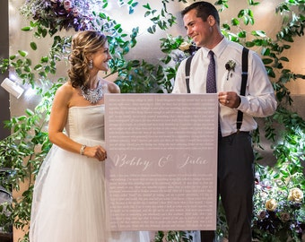 Christmas Gifts for Husband, Wedding Vows or Song Lyrics on Canvas