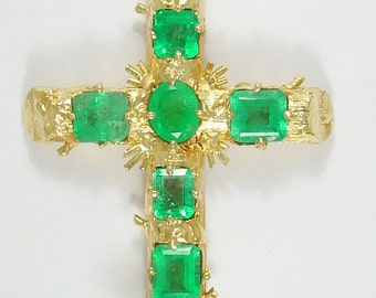 PENDANT 18K 18K Yellow Gold Natural Colombian Emerald Cross Large Religious Christian Cross 17.7 Grams, Emeralds 11.6ctw. PEN18KEMCROS