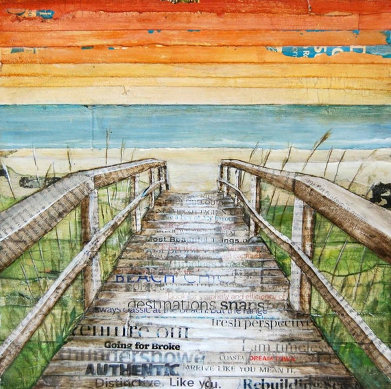 BEACH ART PRINT, Canvas boardwalk dock,beach decor, summer gift, mixed media painting, coastal decor, coastal art,sunset, sunrise, All Sizes