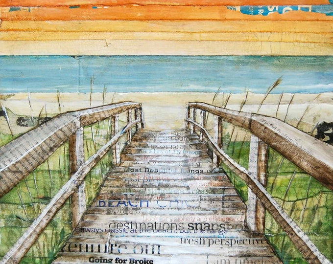 Featured listing image: BEACH ART PRINT, Canvas boardwalk dock,beach decor, summer gift, mixed media painting, coastal decor, coastal art,sunset, sunrise, All Sizes