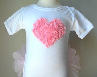 Heart appliqué on SHORT sleeved Tutu Onezee White Bodysuit with built-on Pink Tutu, baby tutu, baby girls shower gift, infant tutu, tutu