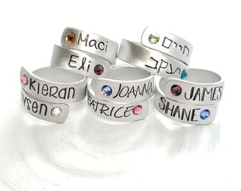 Birthstone Wrap Rings - Mother's Ring - Personalized Hand Stamped Rings - Mother's Ring - Mother's Jewelry - Gift for New Mom - Wide Wrap