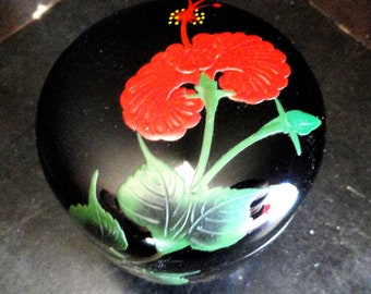 Japanese Lacquer Box with Raised Red Flower Lacquerware Signed on Bottom