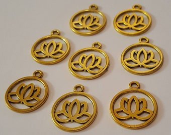 8 Gold Lotus Flower Charms