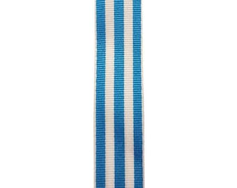 """7/8"""" - Turquoise Carnival Stripe Grosgrain Ribbon - Turquoise and White Stripes - Offray"""